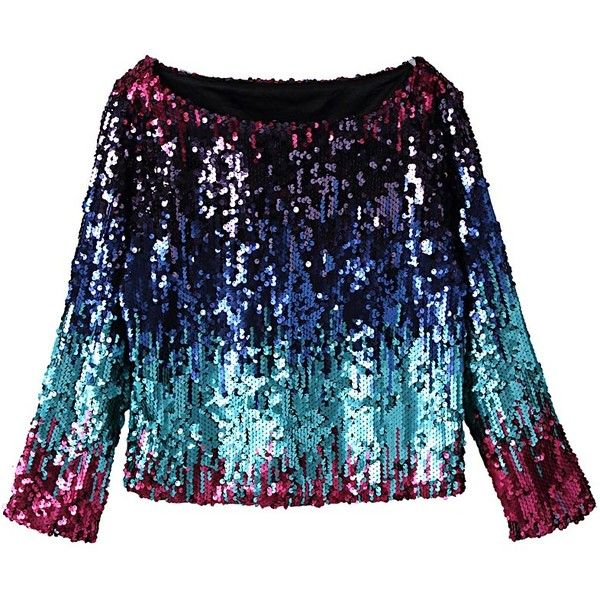 Blue Faded Sequined Long Sleeve Crop Top ($50) ❤ liked on Polyvore featuring tops, blue top, long tops, blue crop top, sequin top and crop top