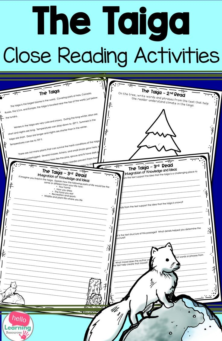 Your Students Will Have Fun Learning About The Taiga Biome With This Close Reading Passage And Set Of Act Close Reading Passages Reading Passages Close Reading