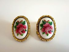 Woman's Fashion Jewelry Needlepoint Clip-On Earrings- Rose Design- Unusual Items