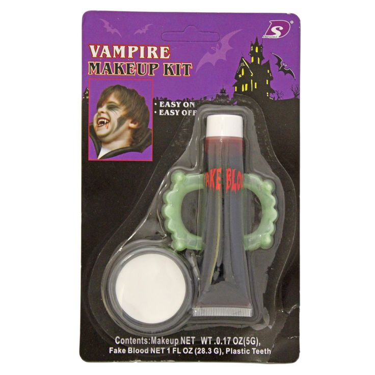This vampire makeup set will be a hit at your next fancy dress or Halloween party.Set Includes:Face PaintFake BloodTeeth