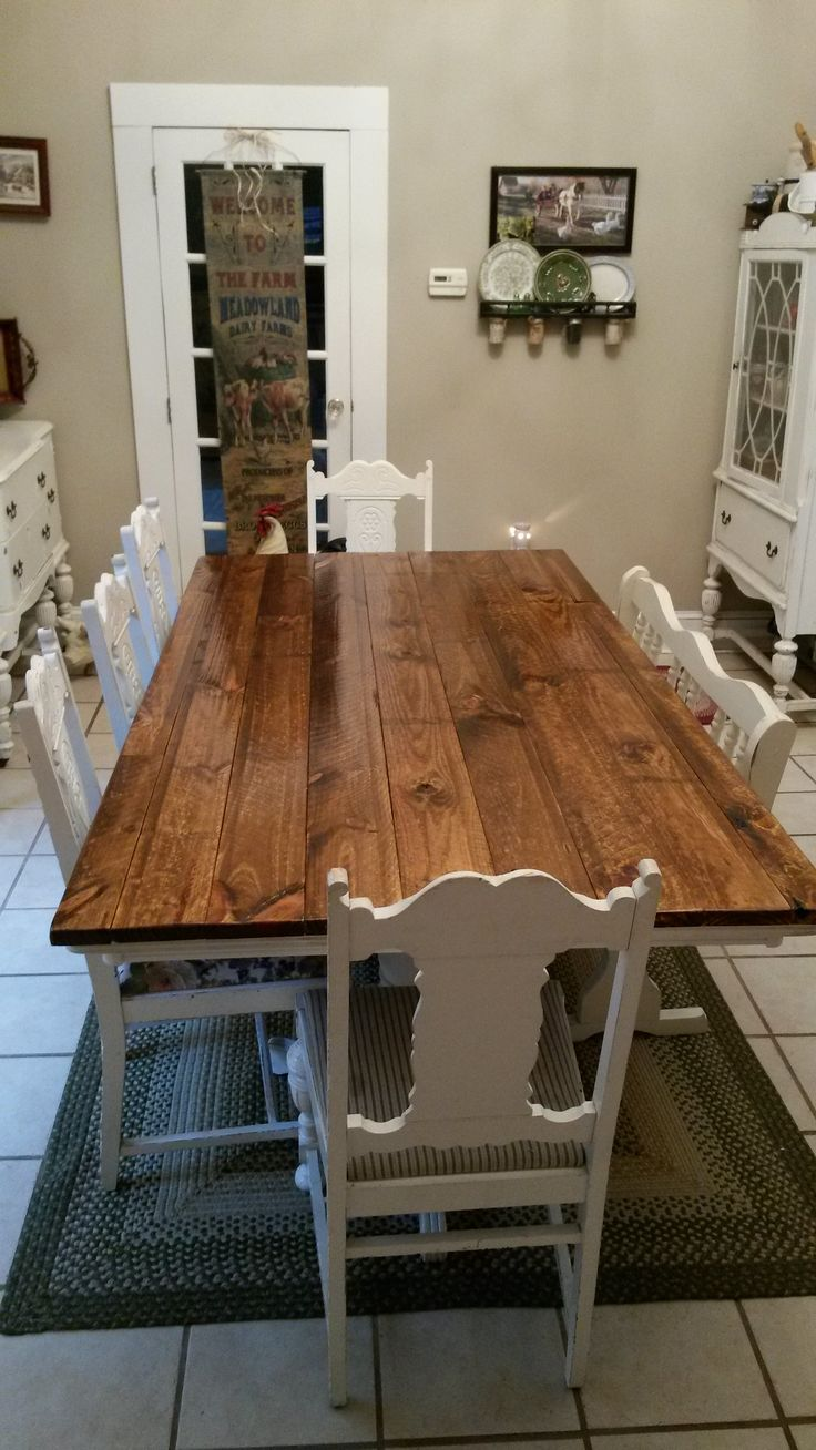 Cherry butcher block top 1 1 2 quot x 26 quot x38 quot kitchen island top ebay - Top Of My Farmhouse Table I Did