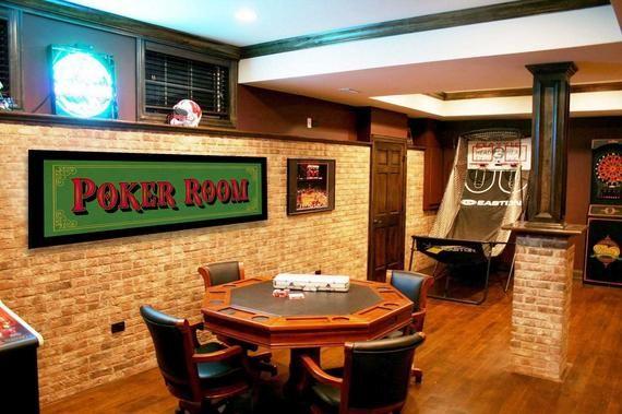 Vintage Style Wood Sign Framed Poker Room Mancave 15 X Etsy In 2021 Garage Game Rooms Small Finished Basements Game Room Basement