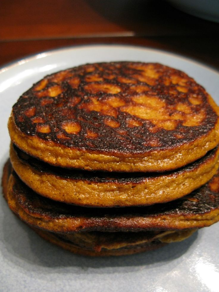 My youngest can not get enough of these pumpkin pancakes.  I have started making them without honey (since she puts syrup on the top anyway) and they flip even easier that way!  And I love that she is getting veggies and protein with breakfast!!!