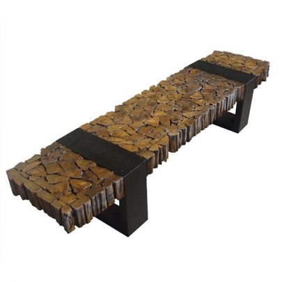 Reclaimed Teak Wood Bench    The reclaimed Teak Wood & wrought Iron Bench is hand crafted from collecting Teak Wood strips that are recycled from using the teak byproducts left for waste by various factories around the area where this bench is made.    The collected teak wood is then pieced together by hand and mounted on a wrought iron base, created a primative, yet distinctive stylized bench.    Each Reclaimed Teak Wood Bench is sli...