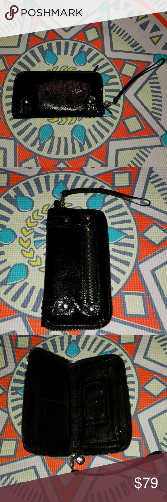 Brighton Wallet/Wristlet Black patent and it zips all around so you can lose anything from inside!  EuC! Brighton Bags Wallets