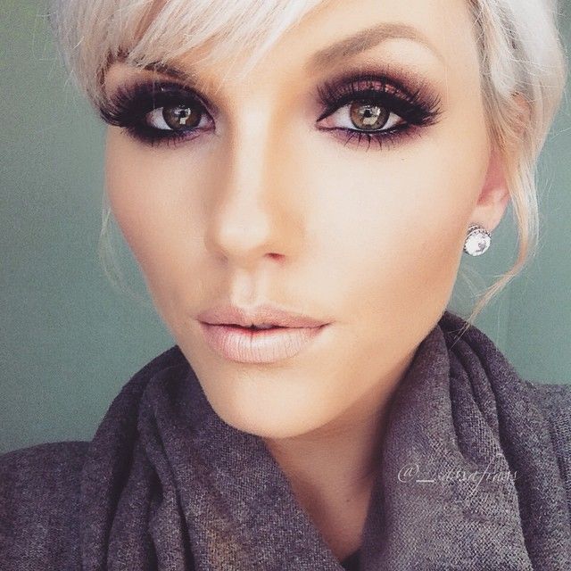 Purple Smokey Eyes & Nude Lips.