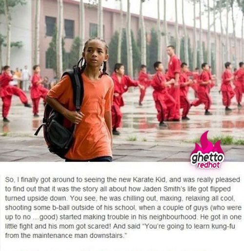 The karate kid bahahahahahahaha you have to read it! And u know u sang along in ur head!