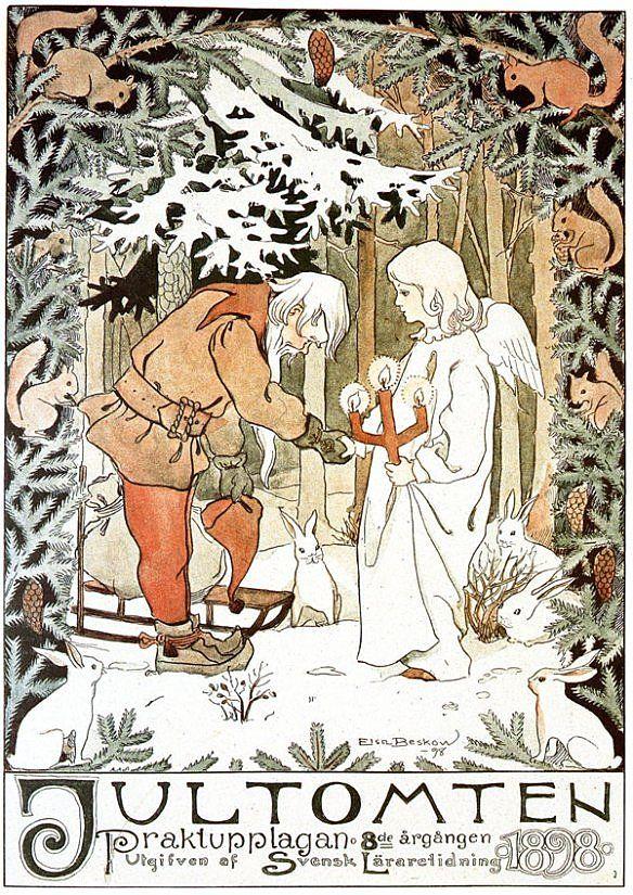 'Jultomten', cover by Elsa Beslow, 1898; Nordic Thoughts