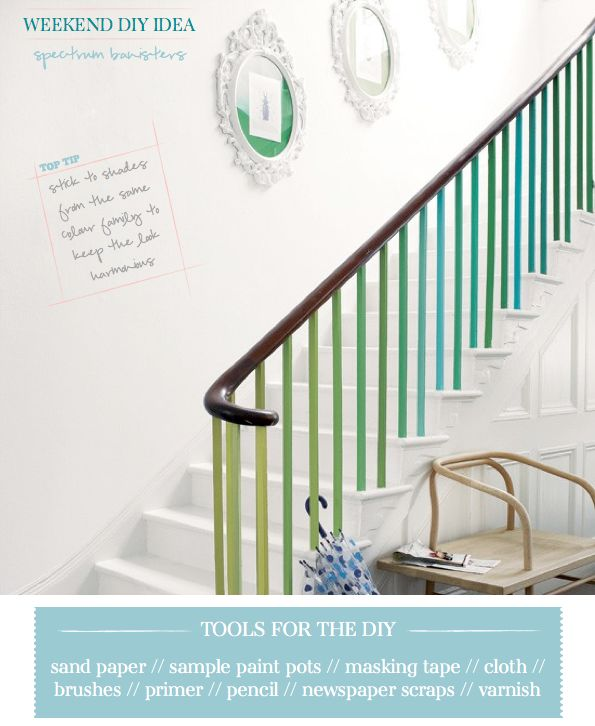 A Bright Bazaar Project: Brighten up your banister with this colorful DIY project! ∙ CLICK TO CUSTOMIZE AND ORDER ∙: Colors Staircases, Colors Spectrum, Banister Ideas, Bannister, Color Schemes, Cool Ideas, Banisters Paintings, House, Colors Banisters