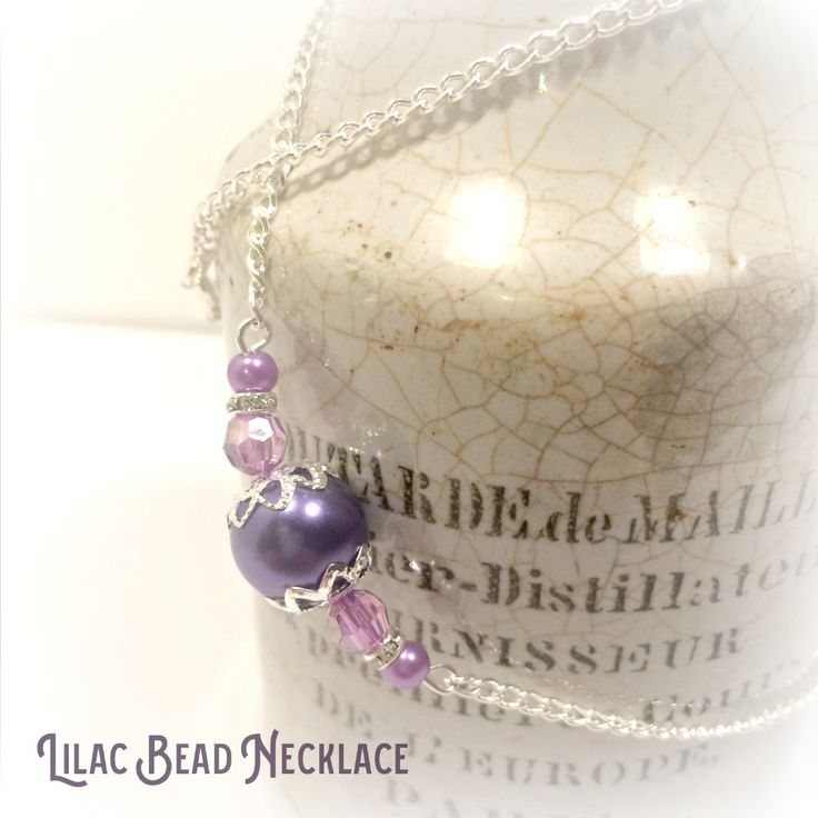 Lilac purple beaded bridesmaid necklace made from Lilac pearl effect beads, lilac translucent beads and diamante spacers.