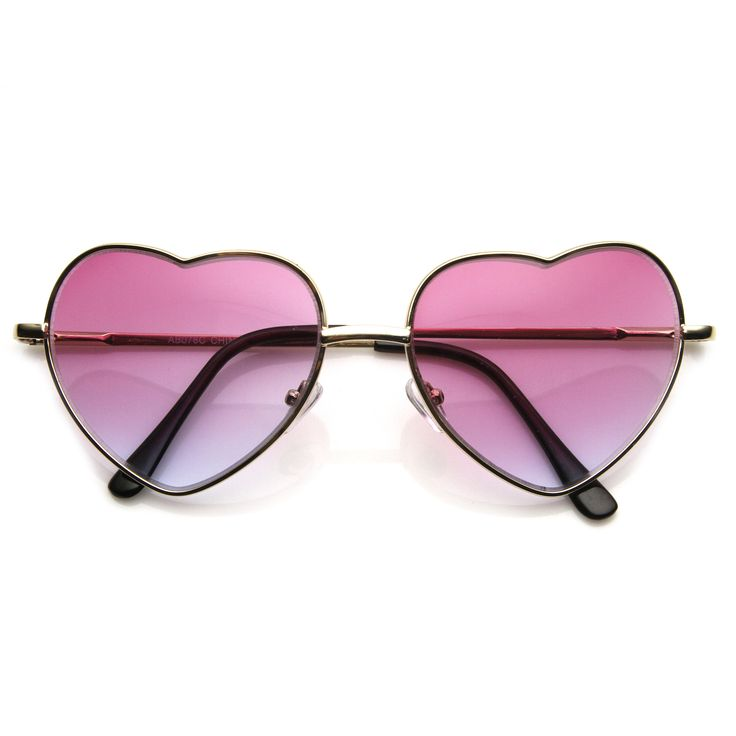 Super Cute Retro Metal Heart Shape Sunglasses With Rainbow Color Lens   zeroUV