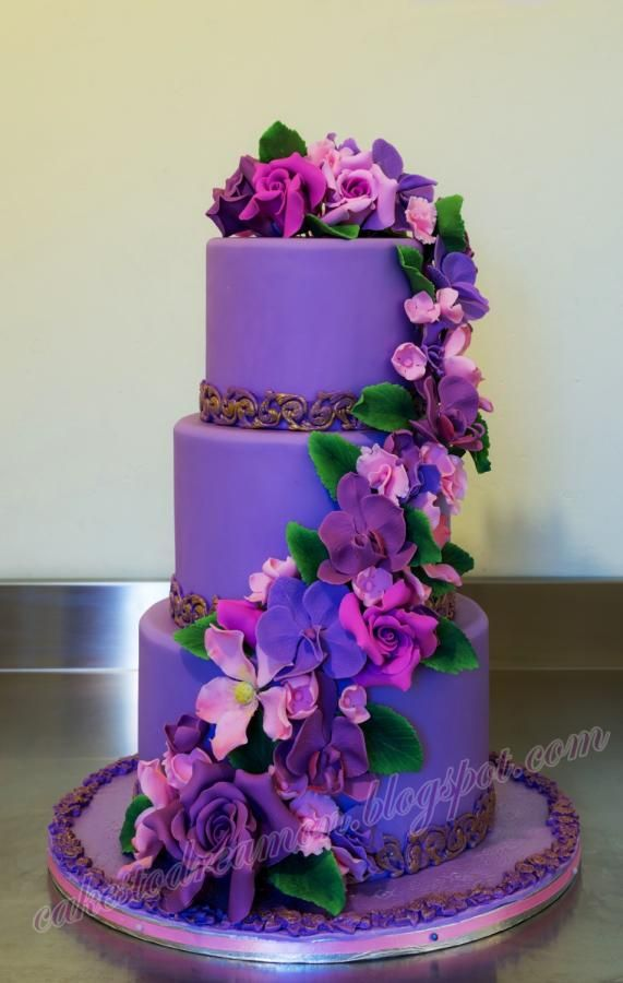 Violet cake  www.tablescapesbydesign.com https://www.facebook.com/pages/Tablescapes-By-Design/129811416695