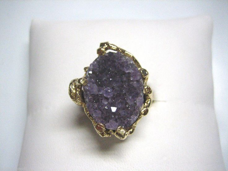 VINTAGE 14K YELLOW GOLD & NATURAL AMETHYST GEMSTONE FASHION WOMEN'S RING SIZE 6 #YellowGold