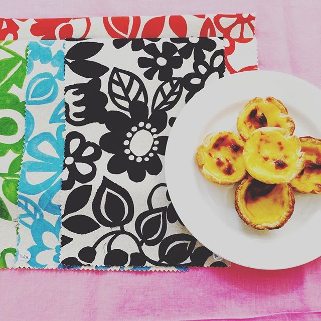portuguese tarts and Japanese cotton are a perfect match 👯#pottertextiles #love…