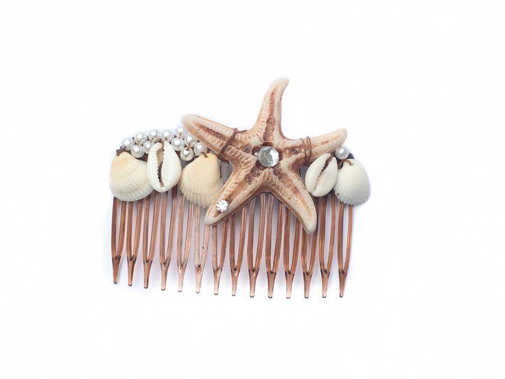 Pentes de estrela do mar, pérolas, búzios e conchas- presilha de cabelo