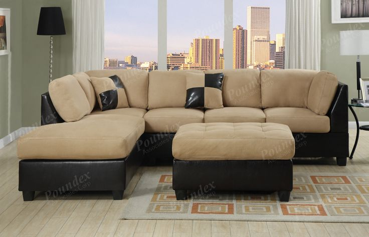 Sectional Microfiber Sofa Chaise