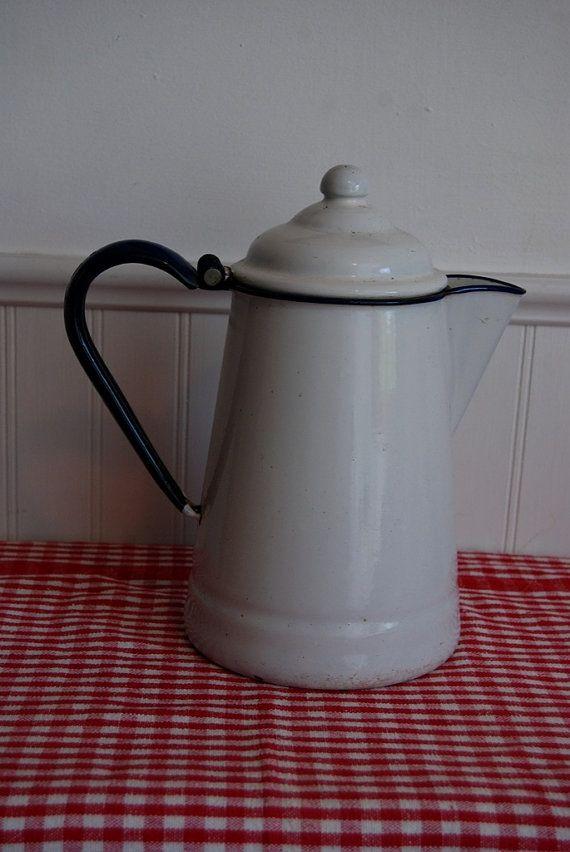 Enamel Coffee Pot vintage white and blue by GoosenestPrairieRose