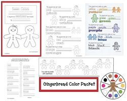 FREE gingerbread-themed emergent reader.  Reinforces colors & color words.  Includes a worksheet and bookmark game too.