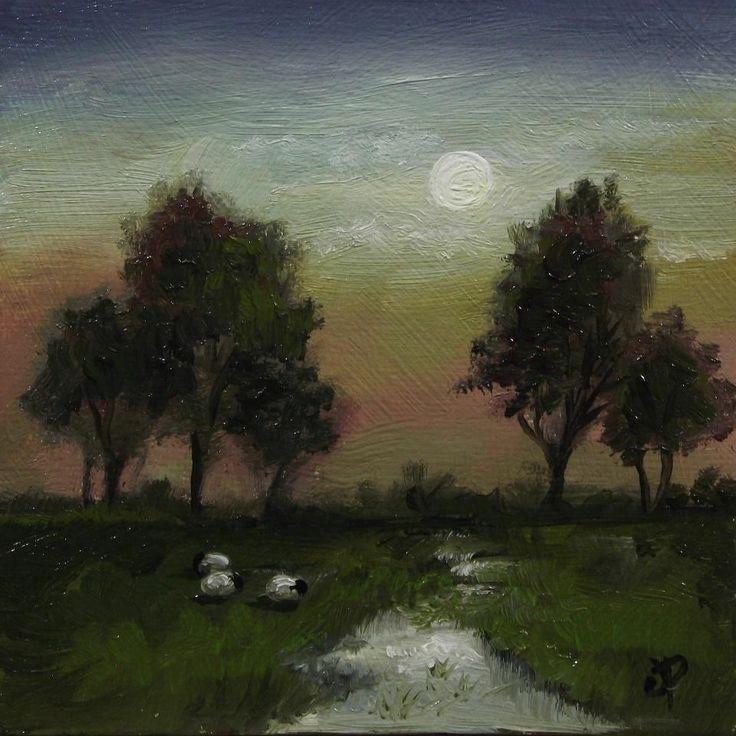 Moonlight Sheep. J Palmer Original oil painting mini Welsh ...