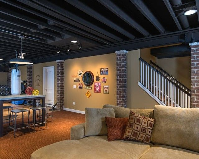 25 best ideas about basement ceiling painted on pinterest unfinished basement ceiling - Best basement design ...