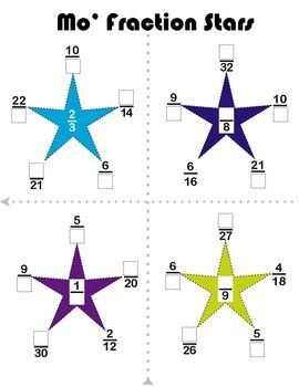 """Your kids can be """"Fraction Stars"""" with these puzzles: each tip of the star is a member of the fraction family in the middle. Figure out the fraction or the family, but watch out: one of these fractions doesn't belong in this """"family!"""""""