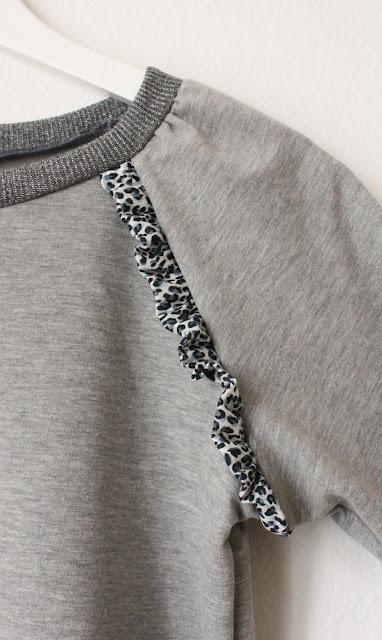 Oversize sweater i en letvægts sweat fundet i Stof 2000, glimmer rib fra Stof og Stil, flæser i Leo på både for og bagside fundet på nettet ( google leopard jersey) det er en meget tynd jersey! Mønster fra Marapytta Syskole