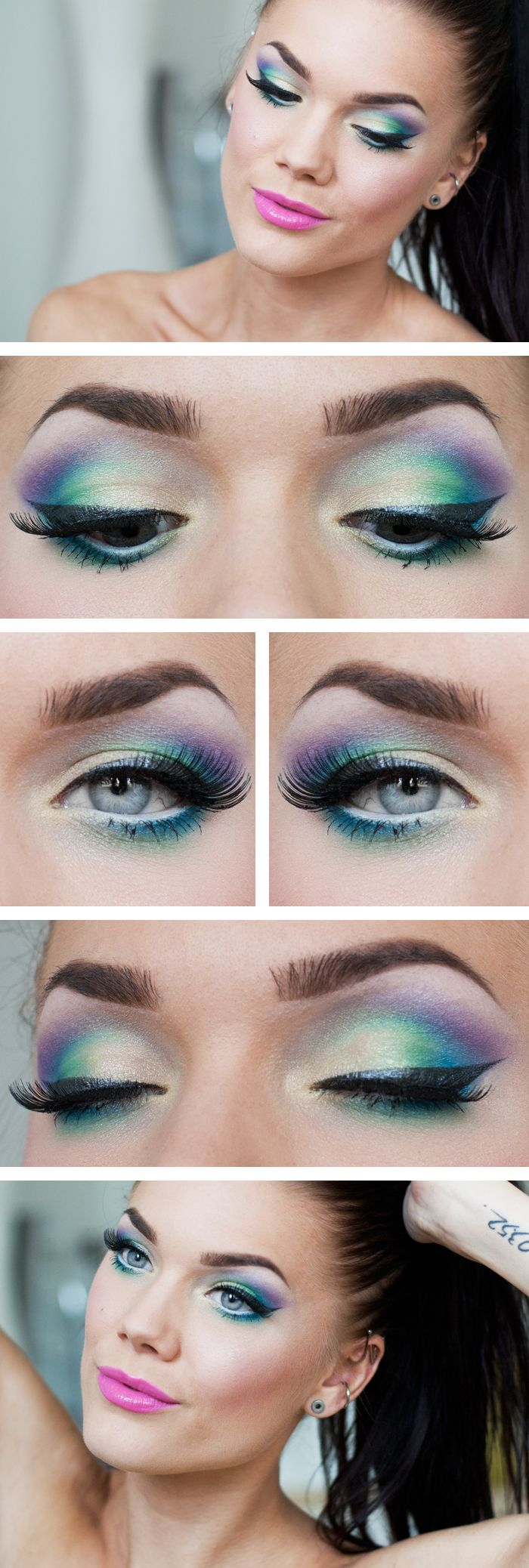 """Today's Look : """"Like a Rainbow"""" -Linda Hallberg ( the name says it all... a magnificent array of colors! from nudes/yellows? to greens, to blues, to purples. A gorgeous eye paired with the perfect pop of pink on the lips with MAC lipstick in Silly"""