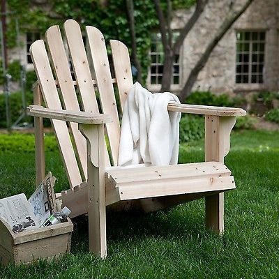 Unfinished style Asian Fir Wood Adirondack Chair with Contoured Seat and