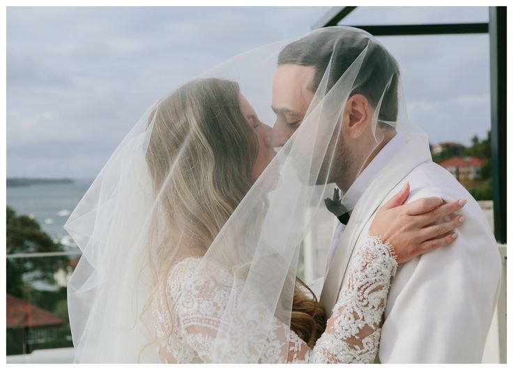 Wedded Wonderland // Wedding Location Shot // Intercontinental Sydney // Double Bay // Paolo Sebastian // Alex Goodman Custom Suit // White Groom // White Suit // Lace Wedding Dress // Real Wedding // Viel Shot // Wedding Hair Inspiration // Modern Wedding Hair // Finger Wave