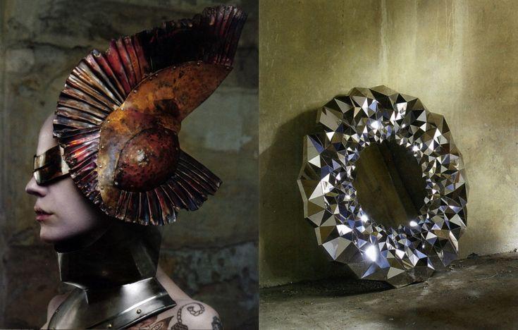 meteoriteHeadpieces Art, Head Sculpture, Pleated Metals, Sculpture Headpieces, Earth Matter, Wearable Art, Metals Head, Metals Adornment, Unbelievable Awesome