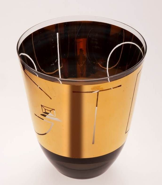 Lubomír Blecha, commemorative glass cup created for the 20th anniversary of DJGT theater in Zvolen, smoked glass decored by gold, 1969, H: 10,0 cm, D: 8,0 cm, executed by Bohumil Blecha glasswork in Kamenicky Senov (Steinshoenau), Zvolen, Czechoslovakia