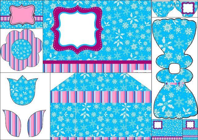 Frozen en Morado y Celeste para Navidad: Invitaciones para Imprimir Gratis.