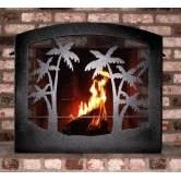 fireplace screen with palm tree design for sale | this hand crafted three fold decorative wrought iron fireplace screen ...