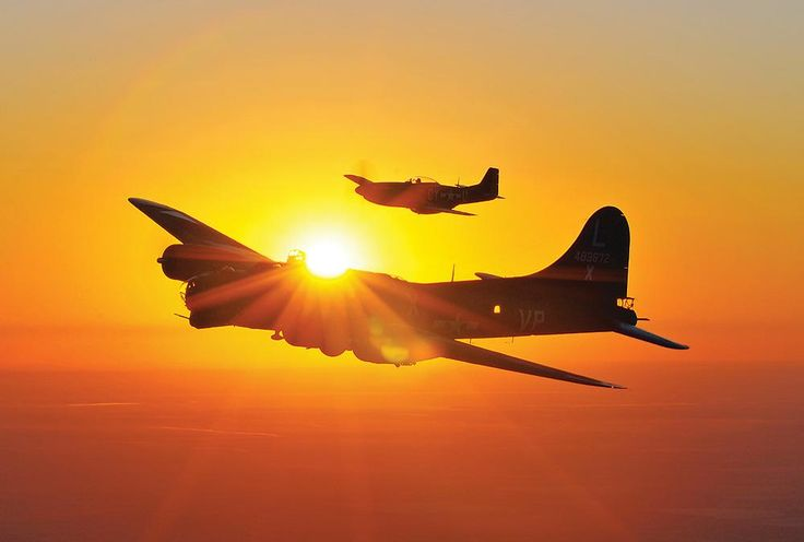 """Boeing B-17 Flying Fortress with a """"Little Friend"""" North American P-51 Mustang in a sunrise sortie."""