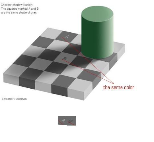Checker board optical illusion with proofOptical Illusions, Colors Optical, Shadows Colors, Grey Colors, Colors Wheels, Boards Optical
