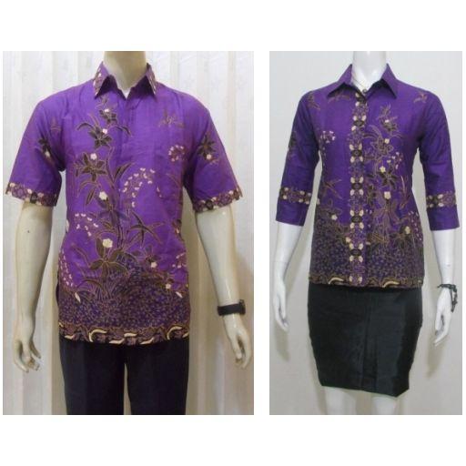 model batik pasangan hem + blus untuk baju seragam batik pria wanita terbaru online murah