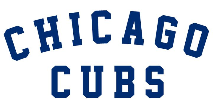 Chicago Cubs Primary Logo (1917) - CHICAGO arched in a blue serifed font above CUBS
