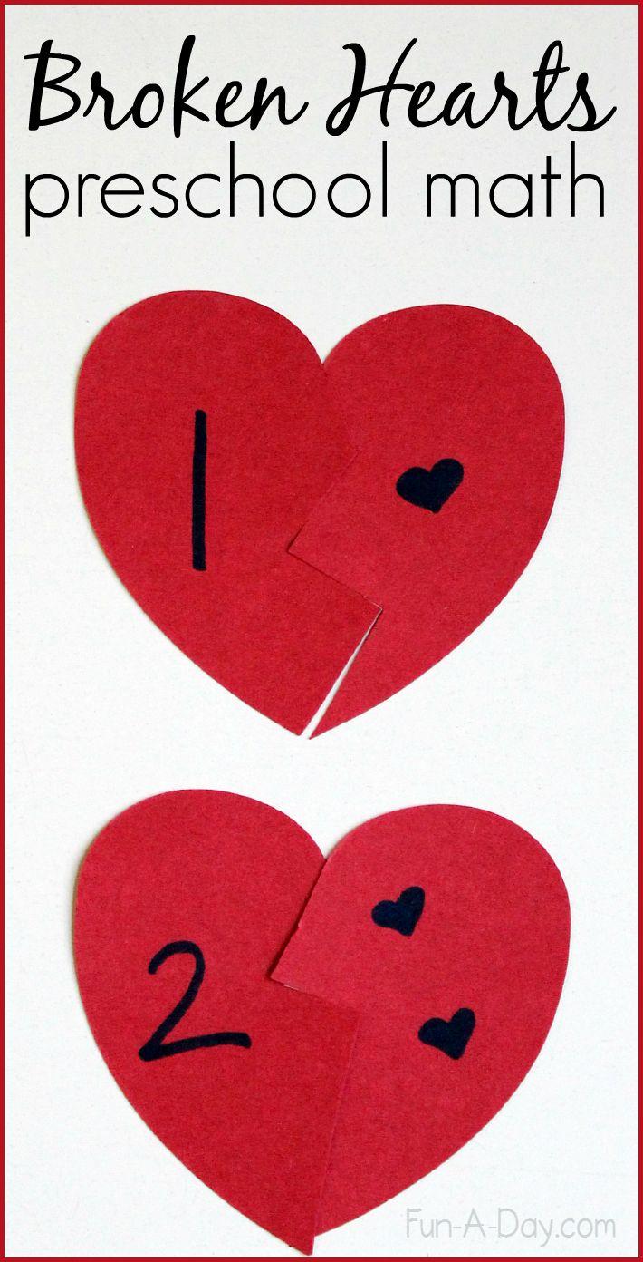 Broken Hearts Valentine Math Activity for Preschoolers