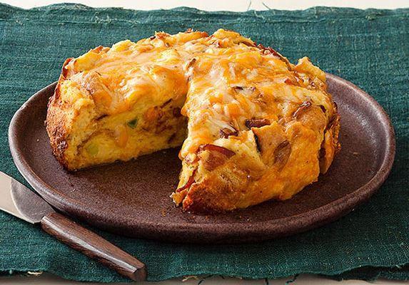 Στράτα+με+ψωμί+του+τοστ,+μπέικον+και+τυριά