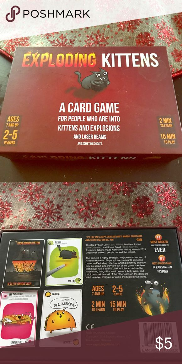 Exploding Kittens card game used Exploding Kittens card game used in great condition hilariously easy and fun game. Other