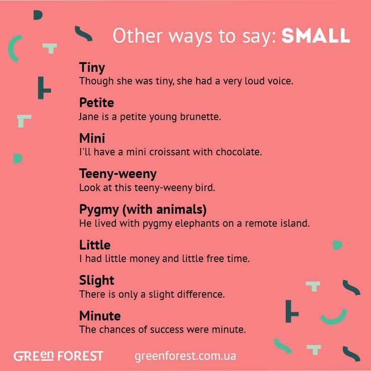 Other ways to say: Small                                                                                                                                                                                 More