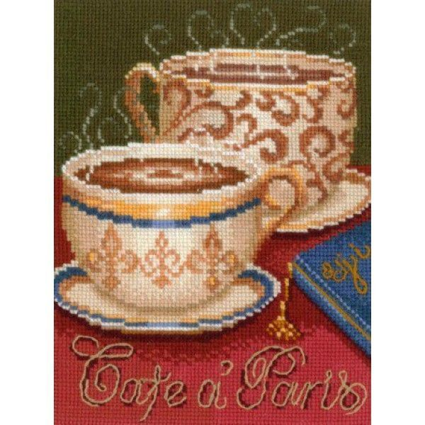 """COUNTED CROSS STITCH KIT COFFEE IN PARIS    PRODUCT DETAILS: The size of the finished work: 15*21 cm    Technique: Counted Cross (Counted Cross Stitch)  Canvas Aida Bestex 14 ct  The composition of wool thread  Driving character color    The kit includes Aida Bestex Canvas 14 ct, floss """"Rainbow"""" (wool) - 25 colors, the color scheme of character, manual embroidery, organizer with samples of thread colorsNumber of colors 25    The frame in kit is not included.  Manufacturer: Make your own…"""
