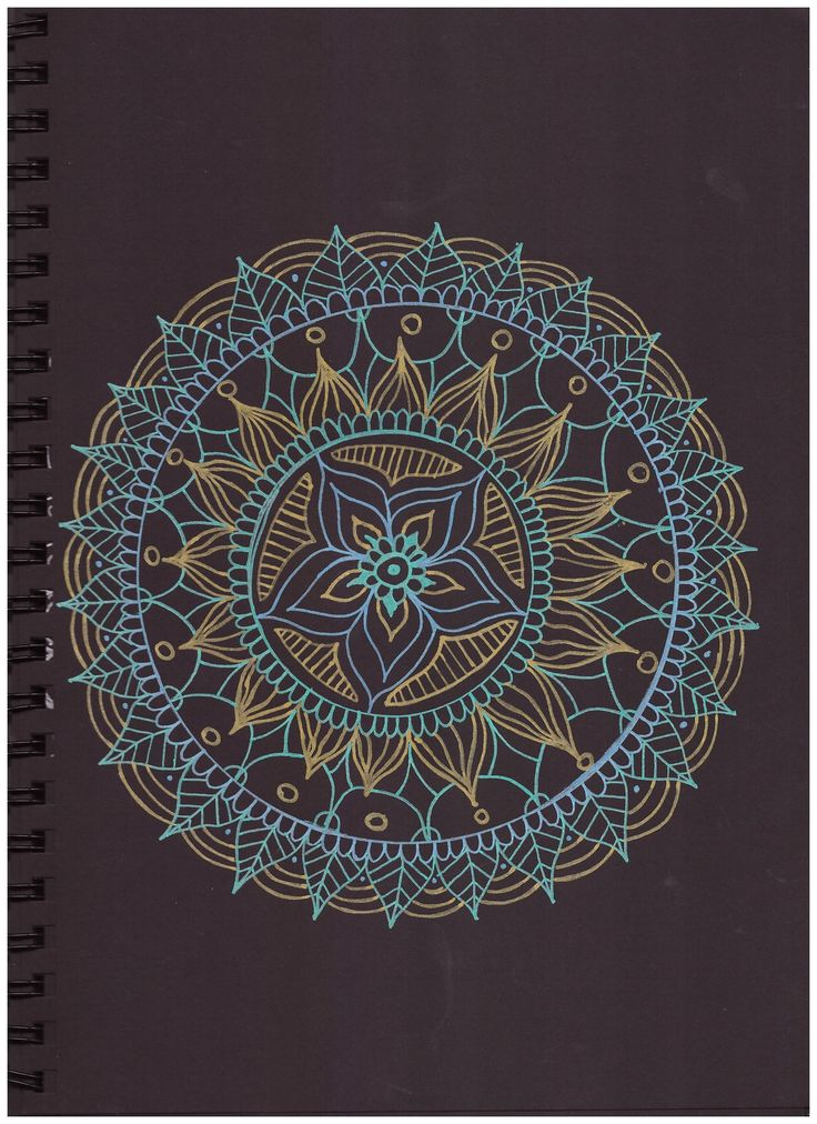 #pattern #in#black #paper #gold #blue #green #posca #mandala