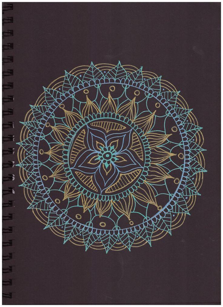 #pattern #in#black #paper #gold #blue #green #posca #mandala