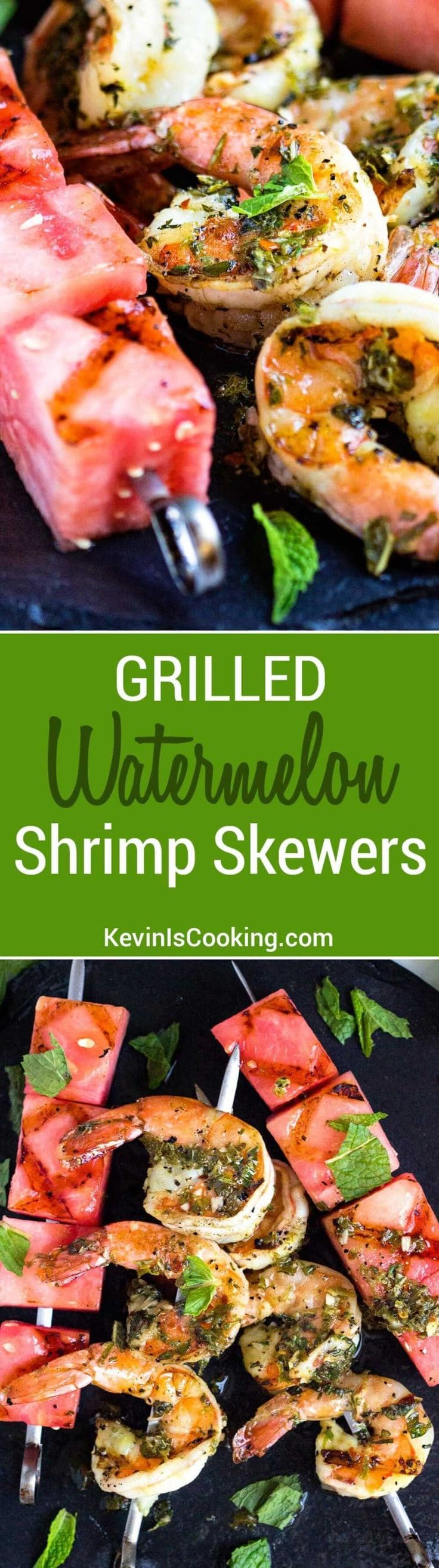 These super easy to make Watermelon and Grilled Shrimp Skewers are quick on the grill and on the plate in minutes. The watermelon rocks, so good! via @keviniscooking