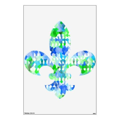 Beautiful Blue and Green Fleur De Lis Removable Wall Decal for home or office. Comes in 3 sizes