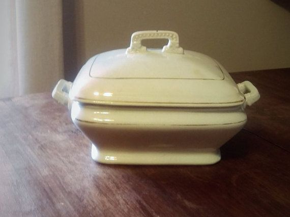 Ironstone Vintage Soup Tureen White Covered by LivingOnChocolate