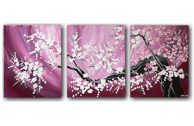 prachtig geschilderde drieluik met zacht roze kleuren en mooie witte bloemen aan een tak.