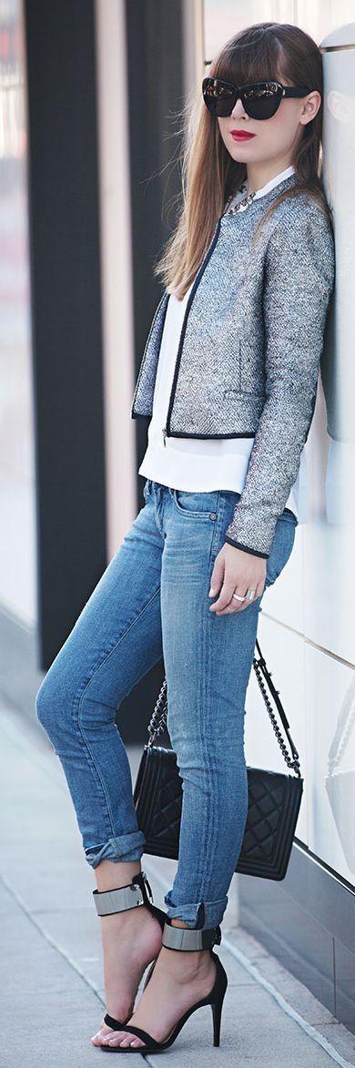White House Black Market Crop Metallic Tweed Jacket