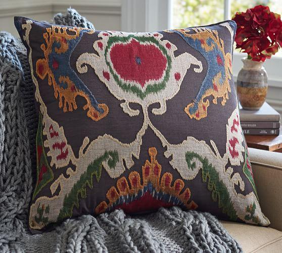Mercer Ikat Applique Pillow Cover Pottery Barn 69 50 24